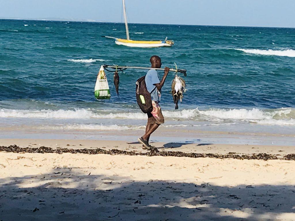 Einheimischer Fischer mit frischem Fang am Strand von Vilanculos