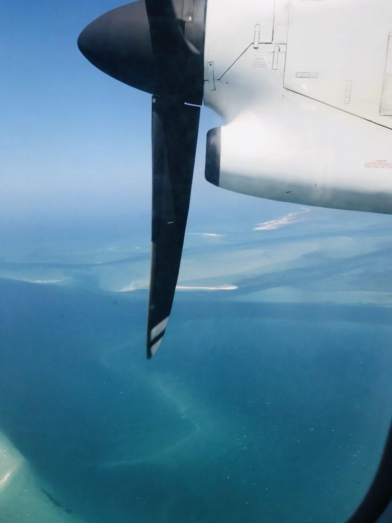 Flugzeugpropeller über dem indischen Ozean